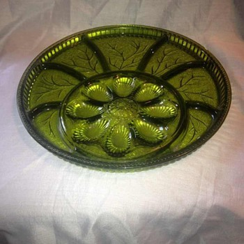 "12.75"" Round Green Deviled egg plate - Glassware"