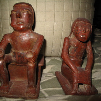 Ancient Mayan Artifacts Man & Woman - Pottery