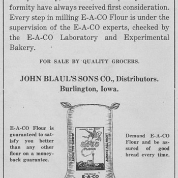 1921 - E A Co Flour Advertisement - Advertising