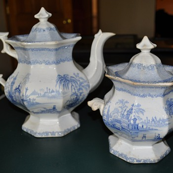 Need Help IDing My New Ironstone Tea Pot and Sugar, Blue Transferware