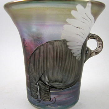"Eisch ""Poetry in Glass"" Part 2 - Drinking Cup, 1989 - Art Glass"
