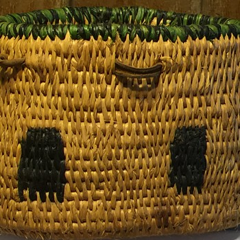 Native American Basket with Leather Tabs and Woven Buffalos - Native American