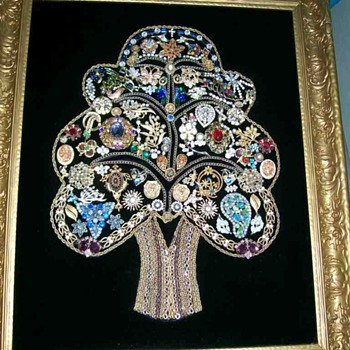 Tree of life made of vintage Jewelry 22 x 24  - Costume Jewelry
