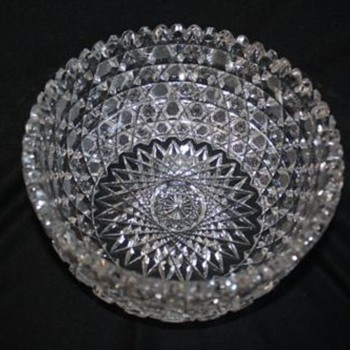 American Brilliant Cut Glass Bowl in Harvard Pattern