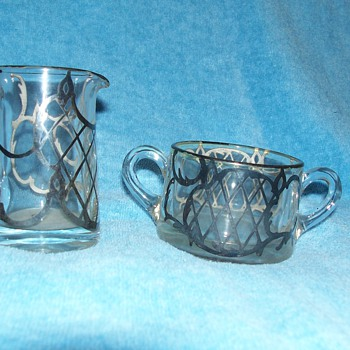 Painted creamer and sugar - Glassware