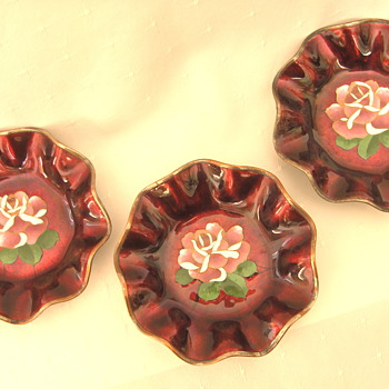 Set 3 Japanese Bonbon Nut Bowls Akasuke Red Enamel Cloisonne Enamel Bowls - Asian