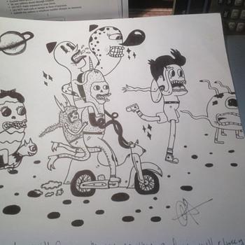 cartoon artist black and white  - Visual Art