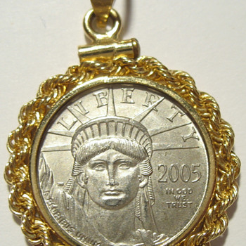 2005 $10 Eagle Platinum Liberty Coin in Bezel - US Coins
