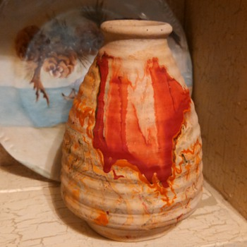 Nemadji Ribbed Vase- red swirl - Art Pottery