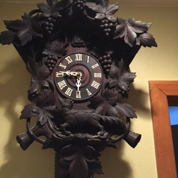 Antique Black Forest Cuckoo Clock Aesop's Fable Fox and Grapes
