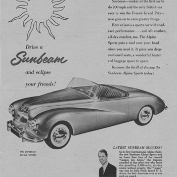 1954 - Sunbeam Alpine Advertisement - Advertising