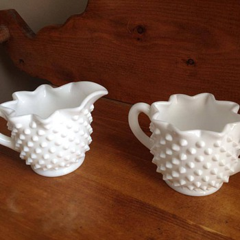 milk glass creamer sugar set