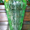  Uranium Glass Thumbprint Vase Unknown Maker