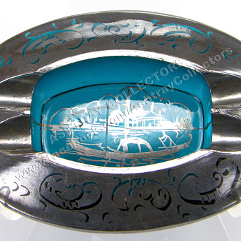 Aqua Glass with Silver Overlay Ashtray - Tobacciana