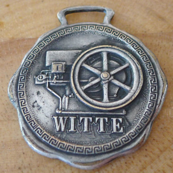 1914 WITTE Engine Works Hit Miss Gas Engine Watch Fob