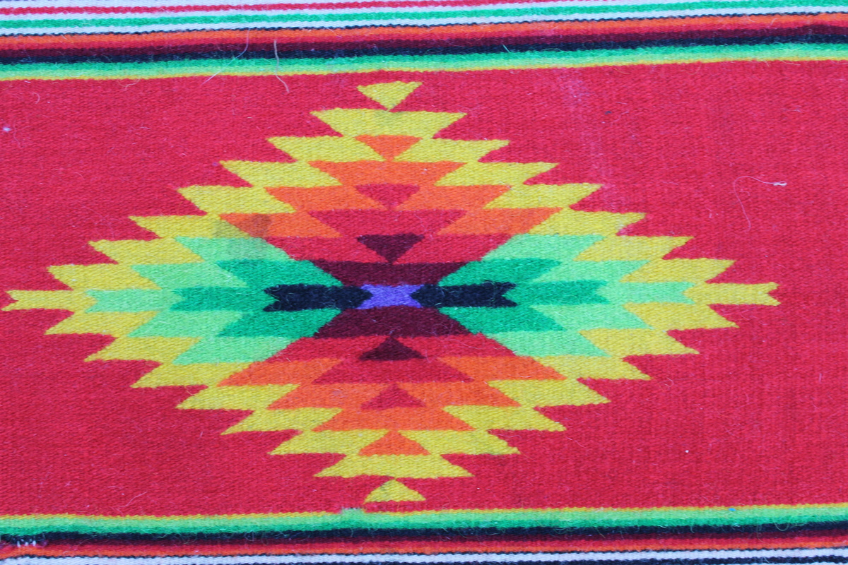 Native American small fringed rug appx 17 inch by 20 inch