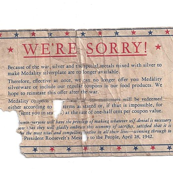 """WE'RE SORRY"" April 28,1942 - Military and Wartime"