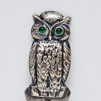 Silver Bookmark with Owl (Denmark), 1920's - Books