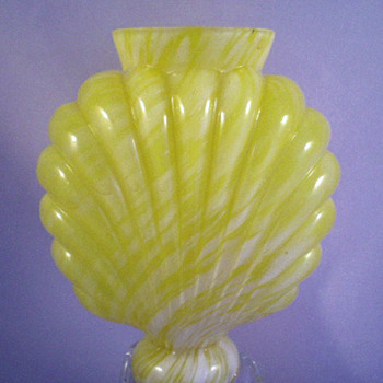 1895 Bohemian Yellow Variegated Embossed or Ribbed Glass Vase / Life Light Base - A. Ruckl Sons