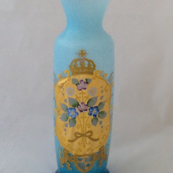 Bohemian? Blue Opalescent Vase Floral Crest - Art Glass