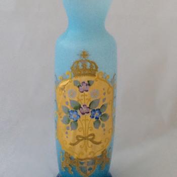 Bohemian? Blue Opalescent Vase Floral Crest