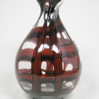 Czech Art Deco Glass Ball Vase Oxblood Webbing decor ca. 1930's - Art Glass