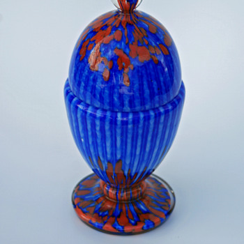 Welz stripes & spots blue, red and white egg shaped lidded candy jar - Art Glass