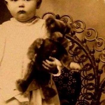STEIFF  LONG NOSED TEDDY BEAR& LITTLE BOY GET THEIR PHOTO TAKEN  - Photographs