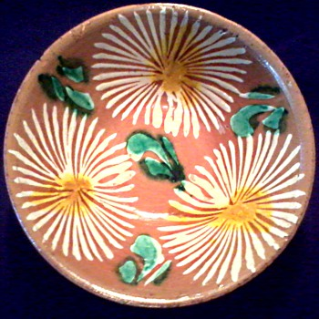 "Small  6 "" Asian Red Clay Tea or Rice Bowl / Hand Painted Chrysanthemums / Unknown Maker and Age - Asian"