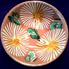 "Small  6 "" Asian Red Clay Tea or Rice Bowl / Hand Painted Chrysanthemums / Unknown Maker and Age"