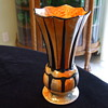 Unusual Orange & Grey Painted ART DECO Pottery VASE- Any Ideas?
