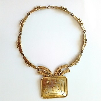 Vintage Mexican Artisan Necklace Stamped Ixel - Fine Jewelry