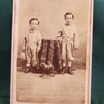CDV of children with blocks and pull toy - Photographs