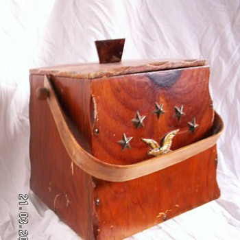 Vintage Trapezoid Wood Bucket w/ Colonial Theme - Folk Art