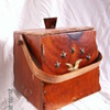 Vintage Trapezoid Wood Bucket w/ Colonial Theme