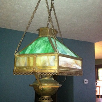 Slag Glass Chandelier - Lamps