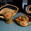 "Salvation Army ""Roseville"" Haul / ""Peony"" Basket #379 & Console Bowl #429 With Flower Arranger #47/Circa 1942"