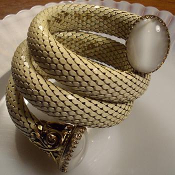 White Mesh Coil Bracelet W/Moonstones.