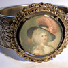 Hinged bangle cuff bracelet with picture on it. vintage