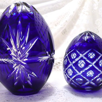 Cobalt Cut to Clear Eggs - Art Glass