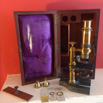 BOXED BRASS MICROSCOPE ANTIQUE  1880's?