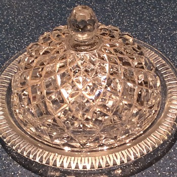 Cut glass butter dish