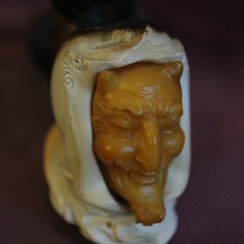 Meerschaum and Amber Devil's Head Pipe - Tobacciana