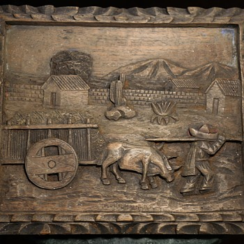 Carved Mahogany Plaque from Mexico - Folk Art