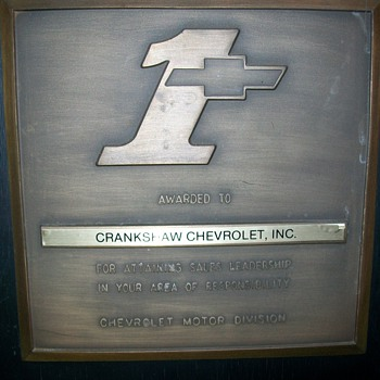 Chevrolet dealer award - Classic Cars