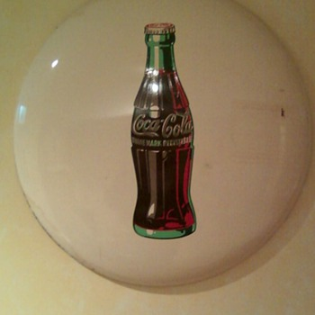 "1950  24"" round embossed metal sign - Coca-Cola"