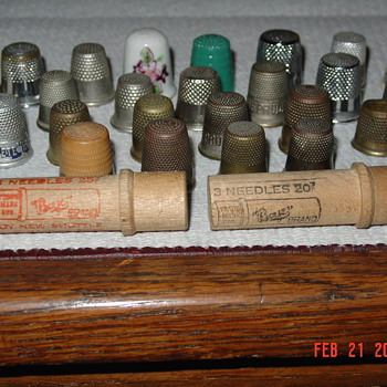 Sewing Thimbles And Two Wooden Needles Cases