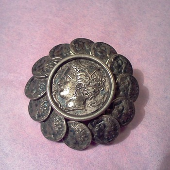 Antique Mini Coin Brooch wih Glass Lid Centerpiece Marked AA - Fine Jewelry