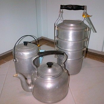 Aluminium ware - kettle, tiffin carrier and food takeaway container