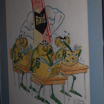 Original one of a kind Raid bug drawing by Don Pegler - Advertising